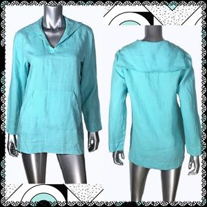 Coldwater Creek Linen Turquoise Tunic Sz XS